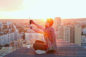 Man doing selfie