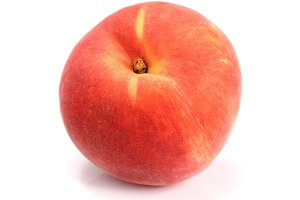 one red peach isolated on white background