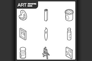 Art outline isometric icons set