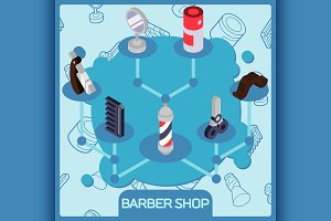 Barber shop isometric concept