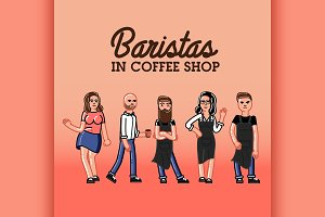 Hipster baristas concept.
