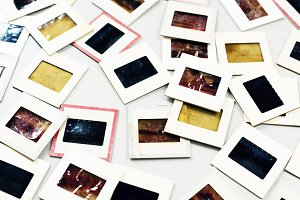 Retro analog film slides set