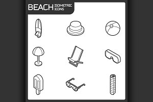 Beach outline isometric icons