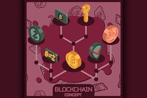 Blockchain isometric concept