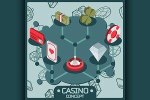 Casino isometric concept