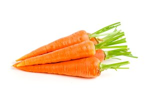 Carrot vegetable with leaves isolated on white background