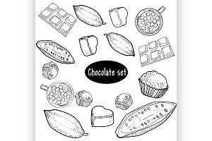 Chocolate Vector set of hand drawing