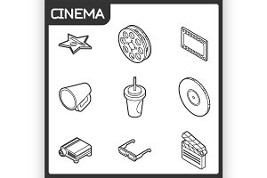 Cinema outline isometric icons