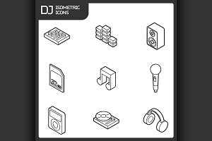 DJ outline isometric icons