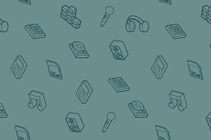 DJ outline isometric pattern
