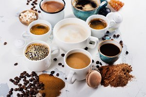 Variety of coffee in ceramic cups