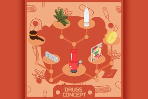Drugs color isometric concept