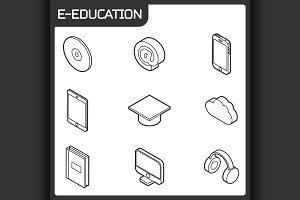 E-education icons set