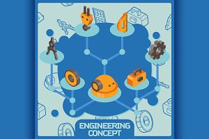 Engineering color isometric concept