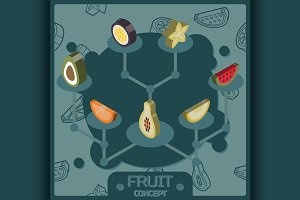Fruit color isometric concept icons