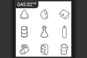 Gas outline isometric icons