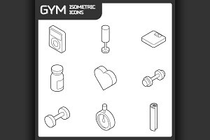 Gym outline isometric icons