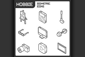 Hobbie outline isometric icons set