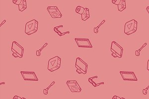 Hobbie outline isometric pattern