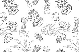 Houseplants vector pattern