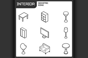 Interior outline isometric icons