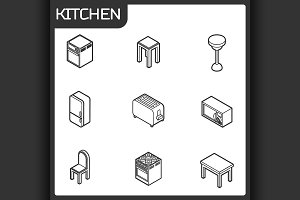 Kitchen outline isometric icons set