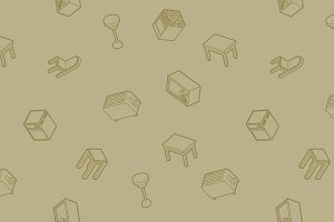 Kitchen outline isometric pattern