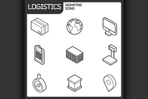 Logistics outline isometric icons