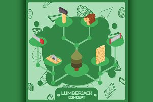Lumberjack color concept icons
