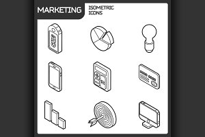 Marketing outline isometric icons