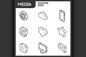 Media outline isometric icons set