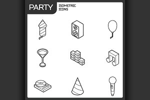 Party outline isometric icons set