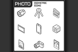 Photo outline isometric icons