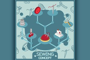 Sewing color isometric concept icons
