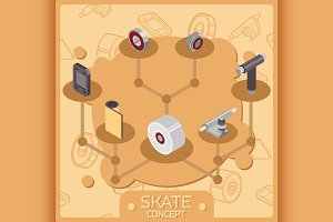 Skate color isometric concept icons