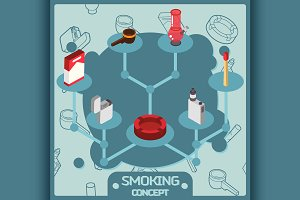 Smoking color concept icons