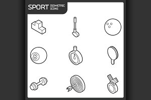 Sport outline isometric icons