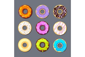 donut icon big set isolate