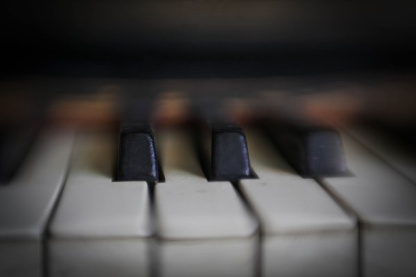 old piano keys close up