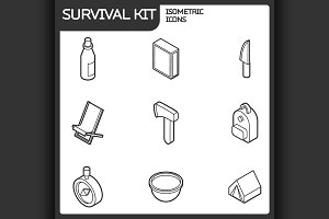 Survival kit outline isometric icons