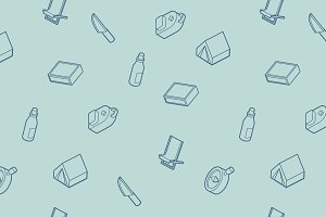 Survival kit icons pattern