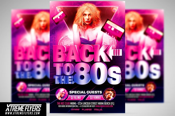 80s party flyer template flyer templates creative market