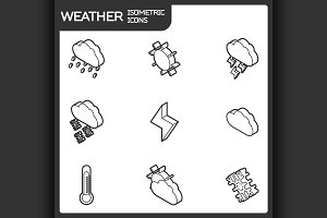 Weather outline isometric icons