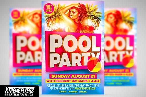 pool party flyer template flyer templates creative market
