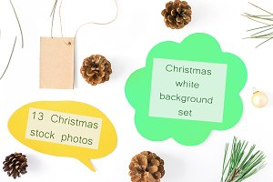 Christmas white background set