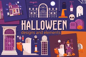 Halloween Designs and Elements Set