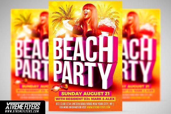 beach party flyer template flyer templates creative market