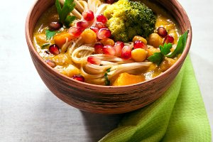 noodle bowl on grey stone background