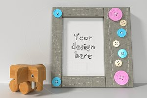 Nursery frame 5x7 inches toys mockup