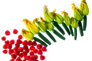 Fresh zucchini flowers top view isolated on white And raspberry